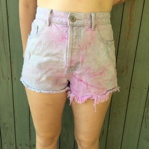 Forever 21 Tie-Dye High-Waisted Shorts